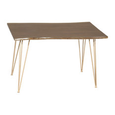 Seti Live Edge Dining Table, Elm, Gold