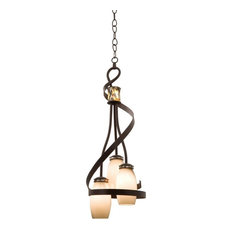 Monaco 3-Light Foyer Chandelier, Monaco Opal Pearl Side Glass