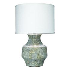 Masonry Table Lamp, Gray Ceramic With Classic Drum Shade, White Linen