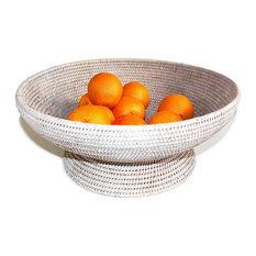 """White Rattan Large Round Fruit Pedestal Basket 17"""""""
