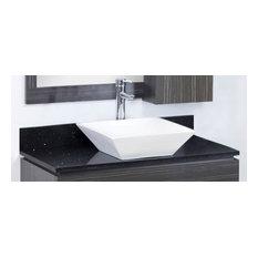 """36""""x18.5"""" Quartz Top, Black Galaxy for Deck Mount Faucet"""