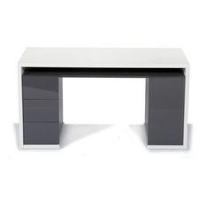 Alinéa - Moneta Grand bureau à 3 tiroirs et 1 porte - Meuble Bureau et Secrétaire