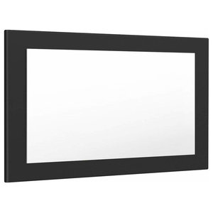 Rectangular Wall Mounted Mirror, MDF With Rounded Edges, Black Matte