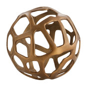 Ennis Antique Brass Web Sphere Sculpture Decor Object, 10""