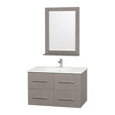 "Centra 36"" Vanity, Square Porcelain Undermount Sink, Gray Oak, White Stone"