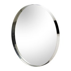 Maison 55 Marcy Modern Classic Silver Round Framed Wall Mirror - Large - 48D