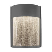 """LED Wall Sconce, Graphite With Clear Seedy, 6""""x8"""""""