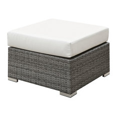 Wicker Ottoman with Fabric Upholstered Cushioned Seat, Small, Gray and Ivory