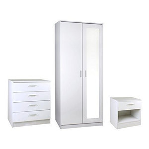 Gloss White Bedroom Furniture Set Mirrored Door Wardrobe, Chest and Bedside