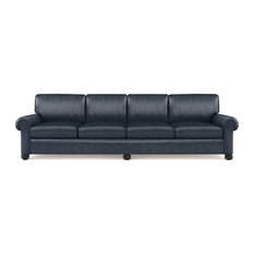 Leroy 10' Leather Sofa Blue Print Extra Deep