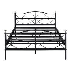 Vecelo Bed Frame Metal Platform bed with Deluxe Crystal Ball Style, Queen