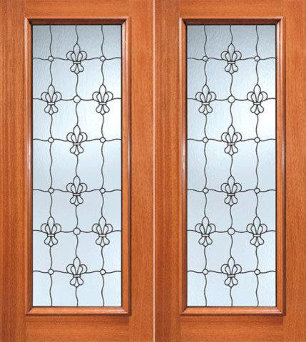 Fleur De Lis Pattern Beveled Glass Exterior Double Door, Full Lite   Front  Doors