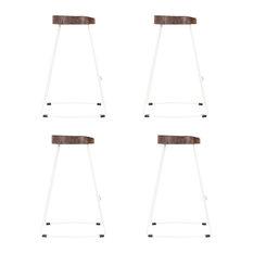 Stockholm Stool, Wood Top, Metal Base, White, 75 cm, Set of 4