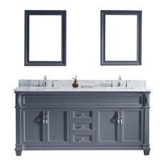 "Victoria 72"" Double Bathroom Vanity Set, Gray"
