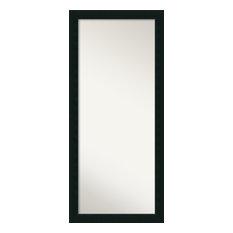 "Floor / Leaner Mirror, Corvino Black Wood, Outer Size 29""x65"""