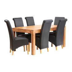 Santiago Light Mango 7-Piece Dining Table Set, Wooden Chairs, Leather Chairs