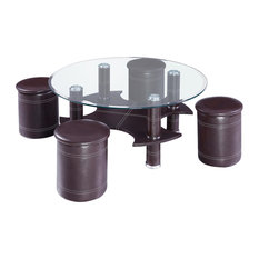 Black Faux Leather and White Stitching Coffee Table With 4 Seats, Round