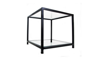 Matt Black Designer Metal Frame Side Table with Glass Top and Bottom Shelves