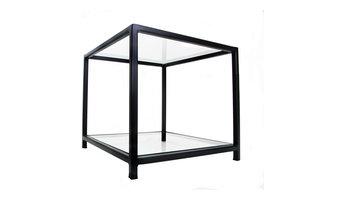 Matt Black Designer Metal Frame Side Table with Glass Top and Bottom Shelves