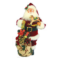"Santa's Workshop - 15"" Traditional Santa With Horse Figurine - Holiday Accents and Figurines"