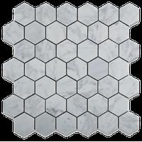 Carrara White Marble Polished Hexagon Mosaic Tile, Set of 5