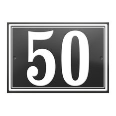 "Number ""50"" Enamelled Wall Plaque, Grey, Double Border"