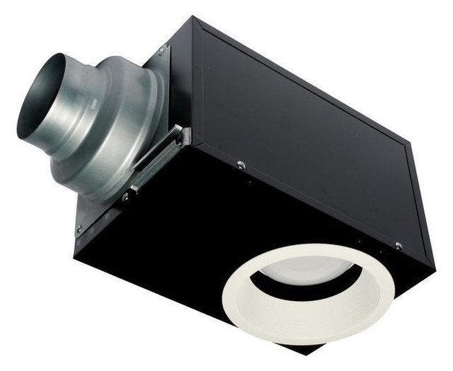Panasonic whisperrecessed 0 7 sone 80 cfm bath fan with light black contemporary bathroom for Panasonic whisperfit ez bathroom fan 80 or 110 cfm
