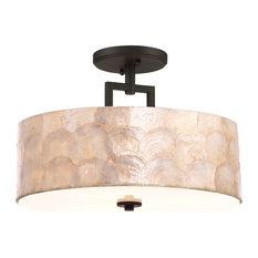 "Kira Home Cove 15"" Semi Flush Ceiling Light, Seashell Shade + Oil Rubbed Bronze"