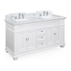 "Elizabeth 60"" Bathroom Double Vanity, Base: White, Top: Carrara Marble"