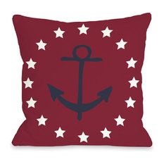 """Anchor Circle Stars"" Indoor Throw Pillow by OneBellaCasa, 16""x16"""