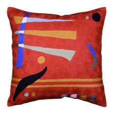 """Kandinsky Orange Pillow Cover Needlepoint Accent Pillows Handmade Wool 18x18"""""""