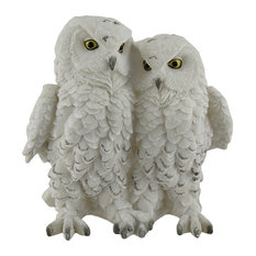 Birds of a Feather Decorative Cozy White Snowy Owl Couple Statue