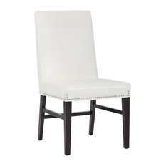 Elegant Looking Dining Chair With Silver Nail Head Trim Ivory by ARTEFAC