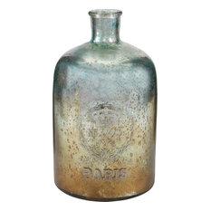 "12"" Aqua Antique Mercury Glass Bottle"