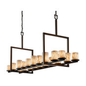 Alabaster Rocks! Dakota 20-Light Bridge Chandelier, Cylinder/Flat, Bronze