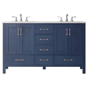 Daria 48 Inch Single Bathroom Vanity in White Brushed Gold Trim Undermount Square Sink White Carrara Marble Countertop