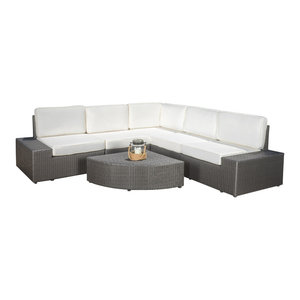 GDF Studio 6-Piece Reddingto Outdoor 5 Seater Wicker V Shaped Sectional Sofa Set
