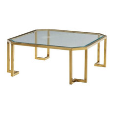 Glass Top Coffee Table With Clipped Corner/Metal Tube Base Gold