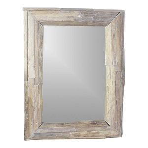 """Haussmann Mirror Ne Recyc Teak Branch 25""""x32"""" Rect (17""""x25 View) Agate Gray"""