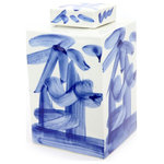 Legends of Asia - Blue and White Brushstroke Tea Jar - Whether displayed on your countertop or kitchen console, this lovely blue brushstroke tea jar take your asian inspired decor to a whole new level.