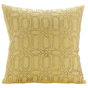 Lattice Trellis 60x60 Cotton Linen Yellow Pillow Shams, Yellow Palace