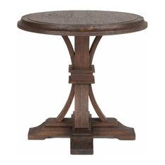 Devon Round Accent Table, Rustic Java