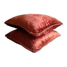 """Velvet Rust Accent Pillows, 22""""x22"""" Velvet Throw Pillows Cover, Rust Shimmer"""