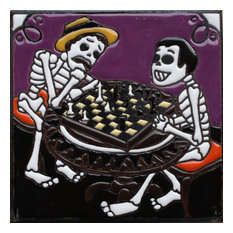 """6""""x6"""" Chess Players Day of the Dead Clay Tile"""