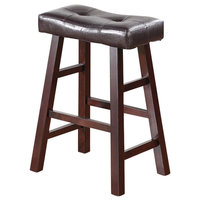 Rubber Wood Counter Stool With Tufted Seat Set Of 2 Brown