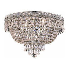 Century 4-Light Flush Mount, Chrome With Clear Royal Cut Crystal