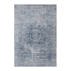 Wolverhampton Vintage-Style Distressed Blue Area Rug, 9'x12' Rectangle