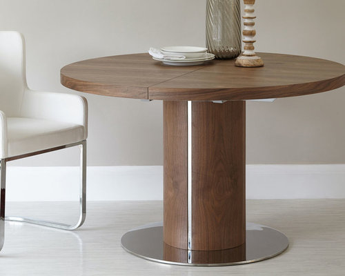 Curva Round Walnut Extending Dining Table   Dining Tables