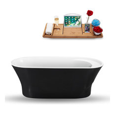 "59"" Black Freestanding Tub and Tray With Internal Drain, Oval Shaped"