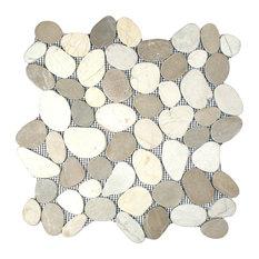 "12""x12"" Sliced Java Tan and White Pebble Tile"